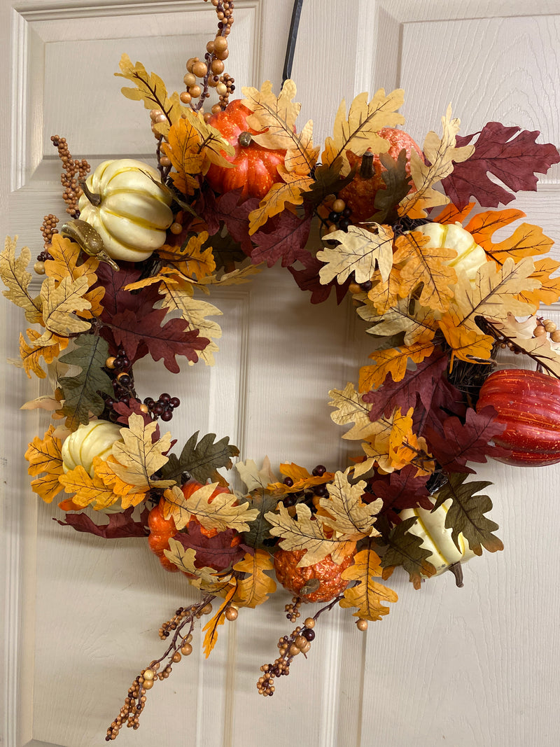 Fall Wreath with Pumpkins