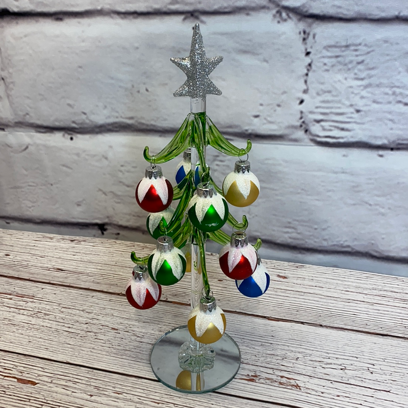 Glass Tree with Ornaments 10""