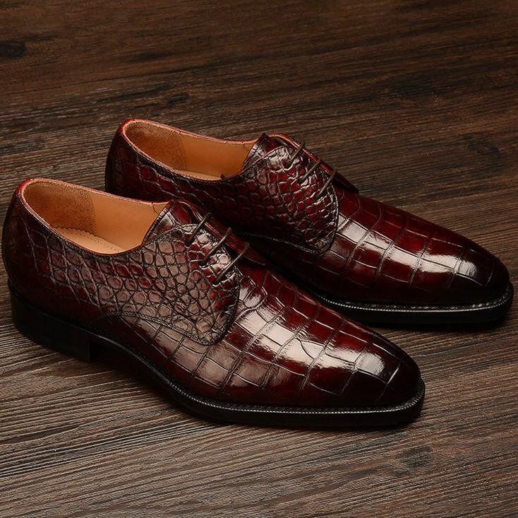 Walk Wear™ - Formal Alligator Leather Lace Up Dress Shoes