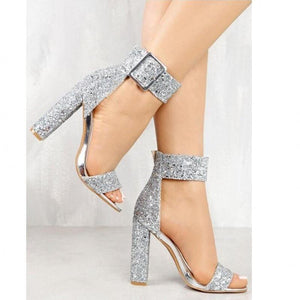 Sequin Open Toe Chunky Heeled Sandals - Real Deal Buddy