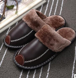 New Winter PU Leather Waterproof Warm Slippers - Real Deal Buddy