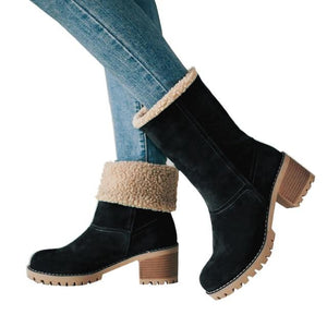 Women's Fur Flock Mid Heel Ankle Boots