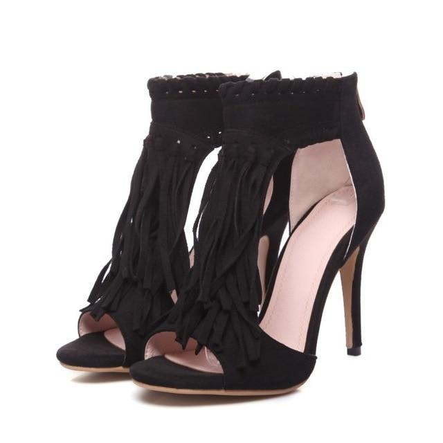 Tassel Suede Boho Heels - Real Deal Buddy