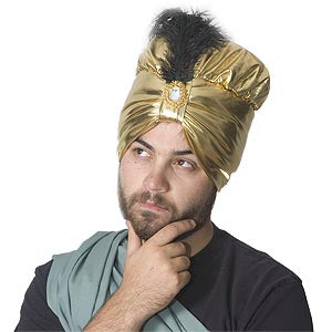 Fancy Turban w/Black Feather