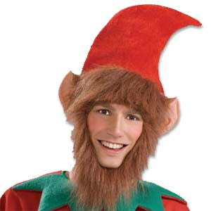 Elf Hat with Ears, Hair & Beard