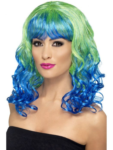 Divatastic Wig, Green & Blue