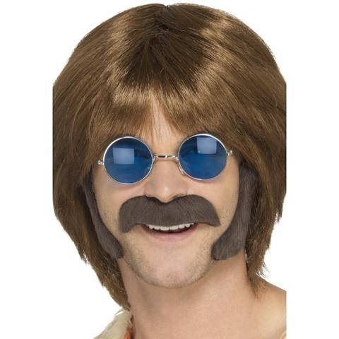 60s 70s Hippy Disguise Set Stash & Sideburns Brown