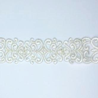 Delicate Embroidered Flower and Swirl Trim with Beads