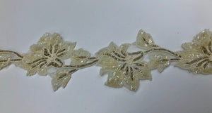 Beaded Ivory Flower Trim
