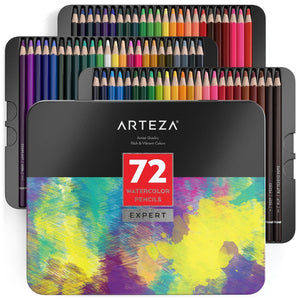 Arteza Professional Watercolor Pencils - Set of 72