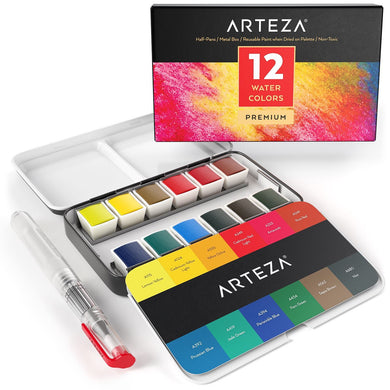 Arteza Watercolor Premium Artist Paint, Half Pans - Set of 12