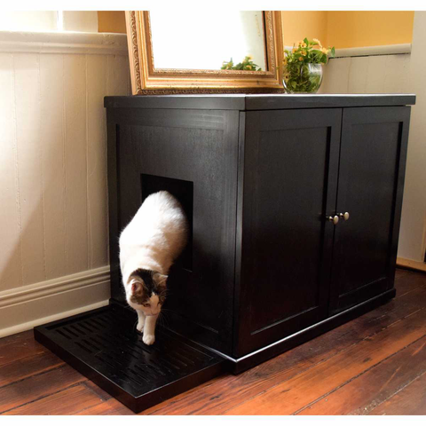 Style F2T Tall Double Cat Pan Litterbox Cabinet