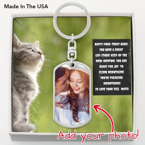 "Amazing Key Chain with ""Happy Purr-thday Babe"" for Feline Lovers"