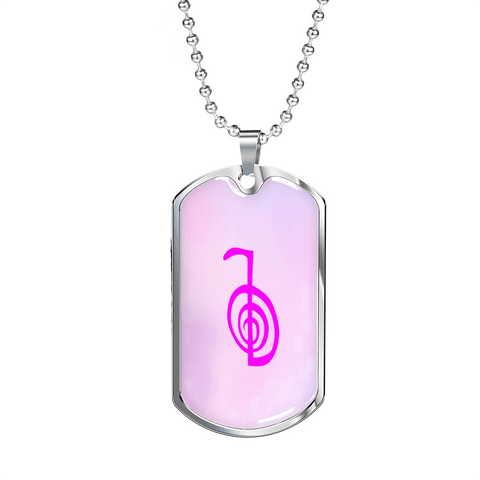 Dog Tag Pendant with Military Ball Chain Cho Ku Rei Reiki Usui Lila