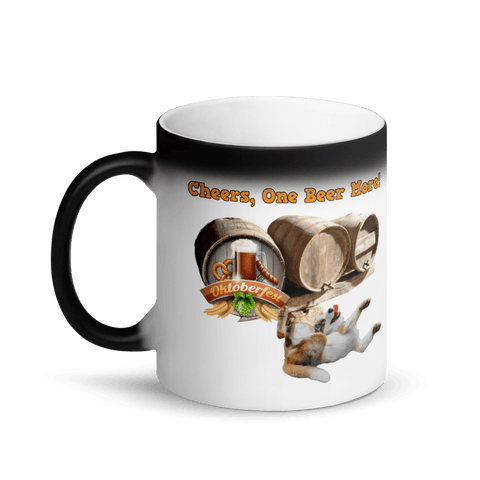 PawsFamilyLtd - Coffee Tea Travel Matte Black Ceramic Magic Mug -  Cheers One Beer Move with Dog