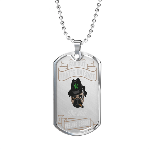"PawsFamilyLtd - Dog Tag Pendant with Military Ball Chain with Kiwi Slang "" Farout, That's Ratshit, I'm Still Feeling Crook!"""
