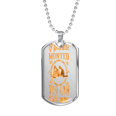 "PawsFamilyLtd - Dog Tag Pendant with Military Ball Chain with Kiwi Slang ""If you are Munted You can Crash here!"""
