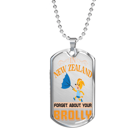 "PawsFamilyLtd - dog Tag Pendant with Military Ball Chain and Kiwi Slang "" In New Zealand, Forget About Your Brolly"""