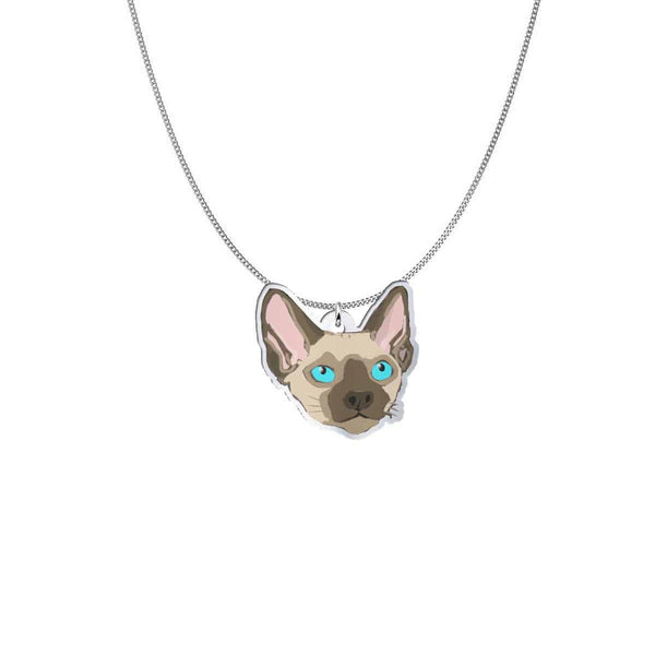 Siamese Cat Head Pendant with Chain