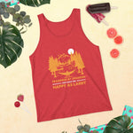 "Unisex Tank Top with Kiwi Slang "" Tramping by Sparrow Fart, make you happy as Larry"""