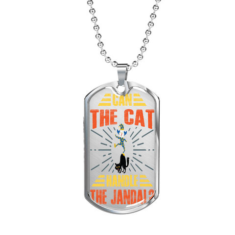 "PawsFamilyLtd - dog Tag Pendant with Military Ball Chain and Kiwi Slang "" Can The Cat Handle the Jandal? "" - PawsFamily"