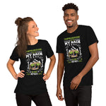 "Short-Sleeve Unisex T-Shirt with Kiwi Slang "" Tramping and Heading up to my Batch in The WopWops"""