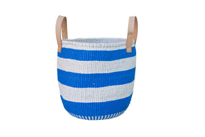 STRIPE RIGHT L //  Cobalt & White // Short leather handles