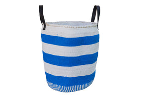 STRIPE RIGHT L Kiondo //  Cobalt & White Basket // Made of Sisal + Recycled Polythene + Recycled Rubber Handles