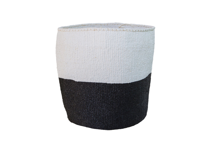 HALF FULL L Kiondo // Medium Black & White Basket // Made of Sisal + Polythene