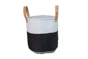 HALF FULL M Kiondo // Medium Black & White Basket // Made of Sisal + Short Leather Handles