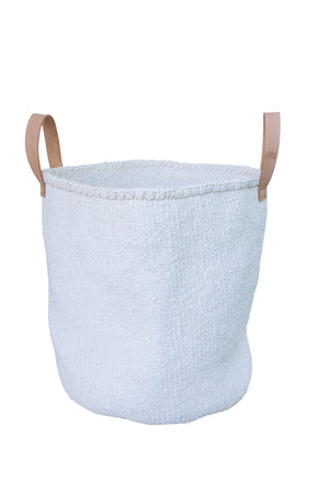 WHITE ON L Kiondo // Large White Basket // Made of Sisal + Recycled Polythene + Leather Handles
