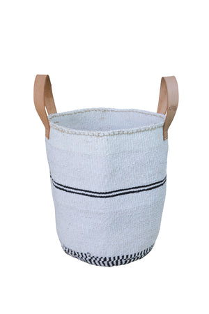 PINSTRIPE M Kiondo// Black and White Basket // Made of Sisal + Recycled Polythene +Short Leather Handles
