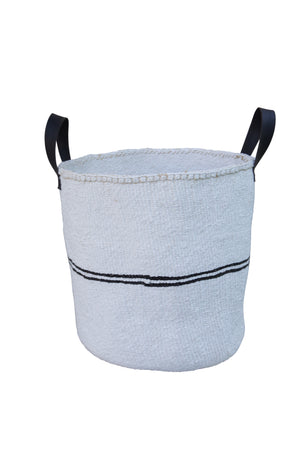 PIN STRIPE L Kiondo // Large Black and White Basket // Made of Sisal + Recycled Rubber Handles