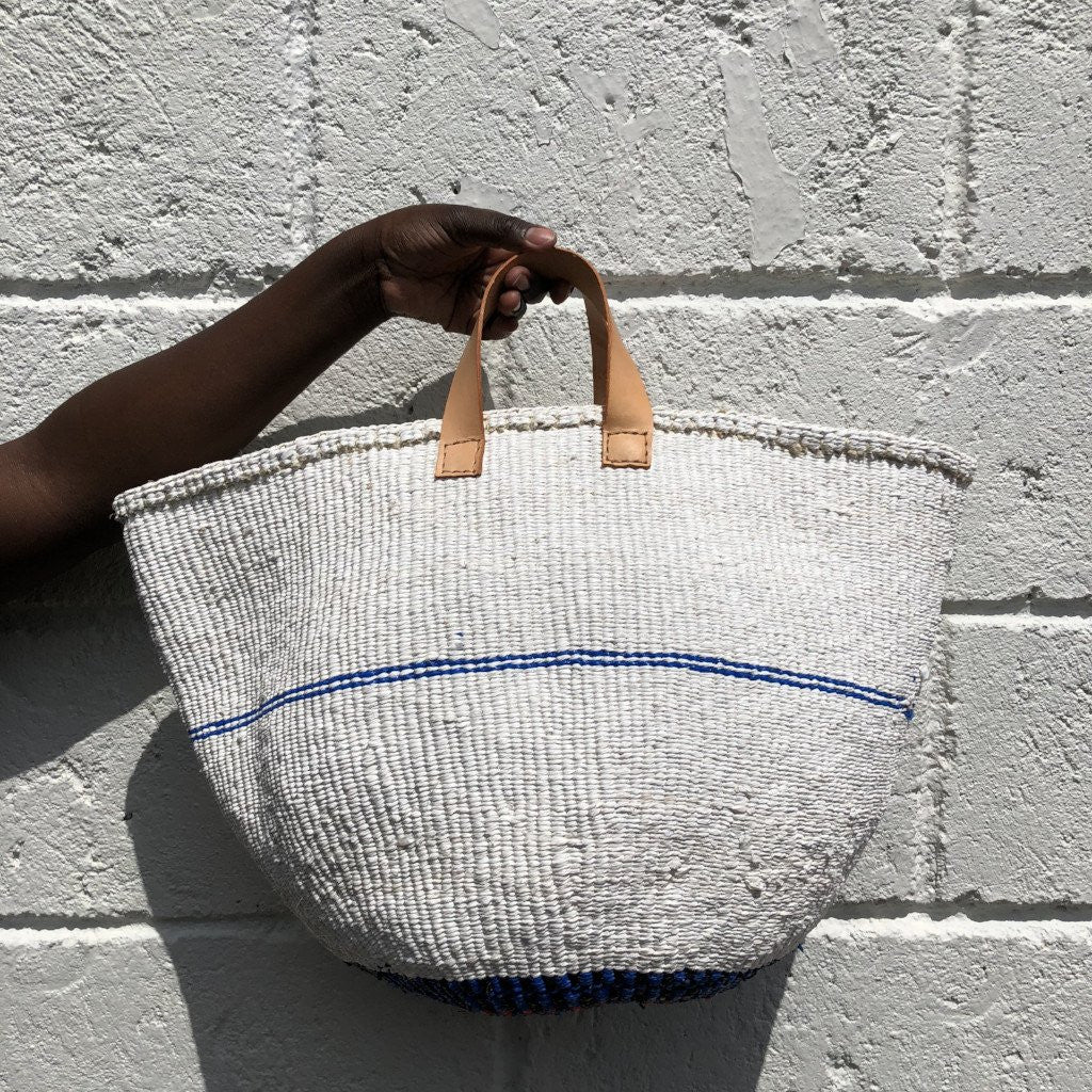 PINSTRIPE M Kiondo// White & Cobalt Basket // Made of Recycled Polythene + Short Leather Handles
