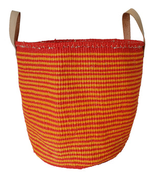 COLOUR YOUR WORLD Kiondo // Slim Stripe Basket // Made of Natural Sisal + Recycled Polythene + Leather Handles