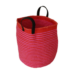 COLOUR YOUR WORLD Kiondo // Slim Stripe Basket in Hot Pink // Made of Red Recycled Plastic + Recycled Rubber Handles