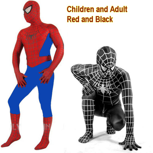 Mens Adult and Childrens Boy Halloween Spiderman Cosplay Costumes Full Body Suit