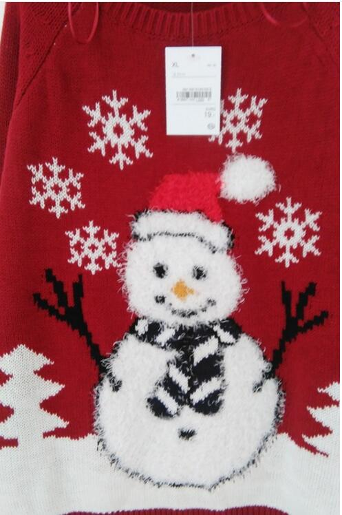 Lovely Snowman Wearing Special Scarf and Gloves Christmas Tree Snowflake Patterned Sweaters