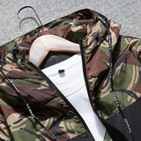 Military Style Jacket Camouflage Patchwork Long Sleeve Jacket for Men's