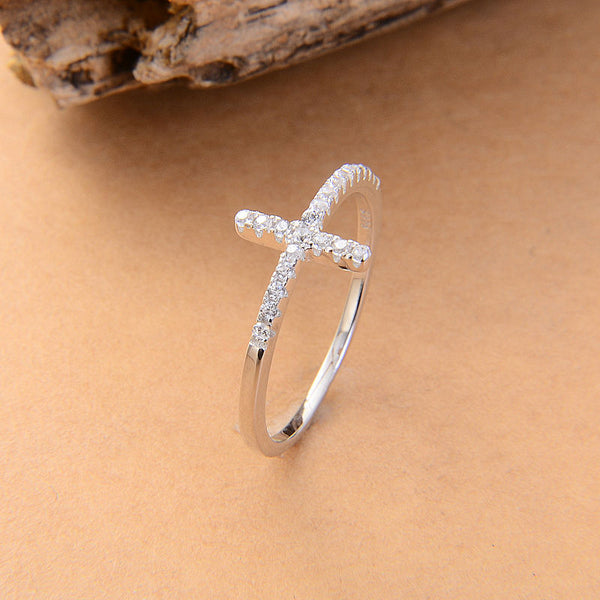 Sideways Cross silver plated vintage wedding ring for women