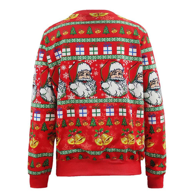 New Middle Long Pullovers Santa Claus X-mas Tree Reindeer Patterned Print Sweater for Unisex