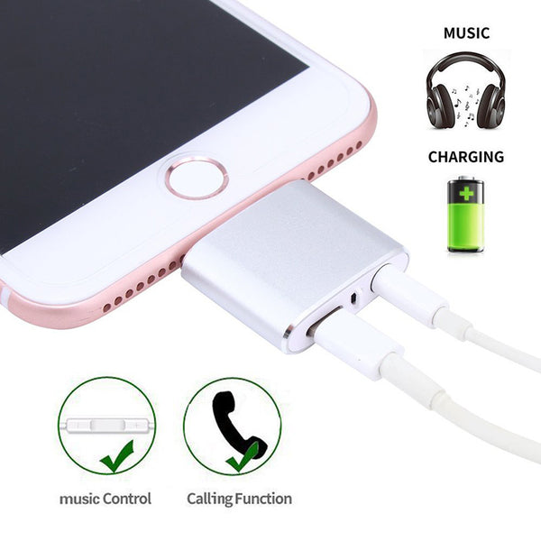 iphone 8 Adapter for Lightning to Earphones Aux Jack Bluetooth Charge splitter for iPhone 7 Plus
