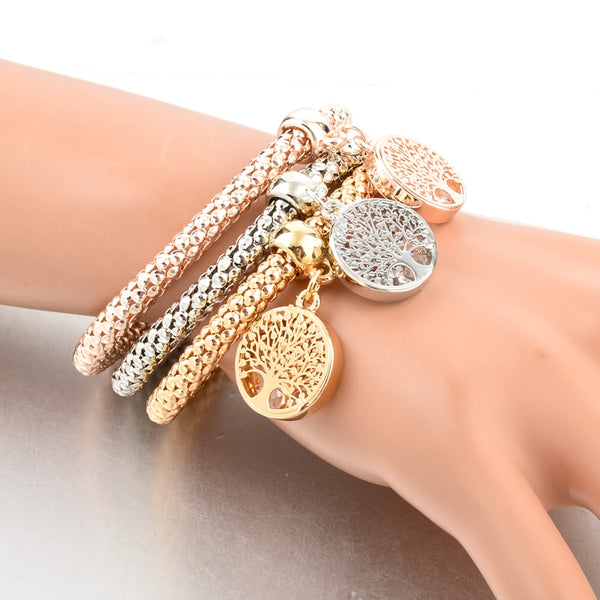 Vintage Rhinestones Gold Color Tree of Life Charm Bracelets For Women
