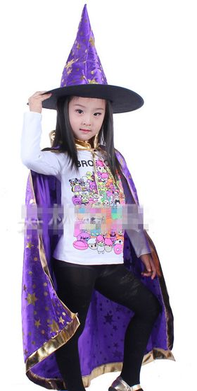 Boy Girl Kids Christmas Halloween Witch Wizard Cloak Gown and Hat Cap