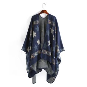 Autumn and Winter Cape for Women Star Pattern Fork Shawls and Wraps Large Warm Cashmere Scarf