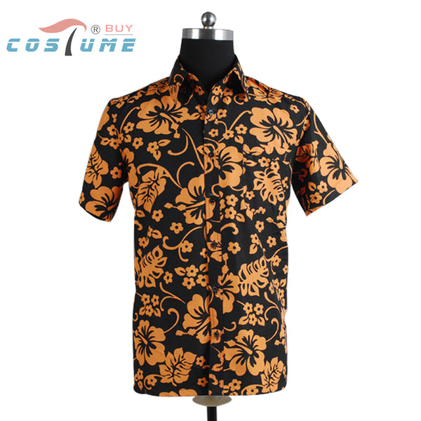 Halloween Cosplay Costume Fear and Loathing in Las Vegas Raoul Duke Orange Shirt For Men