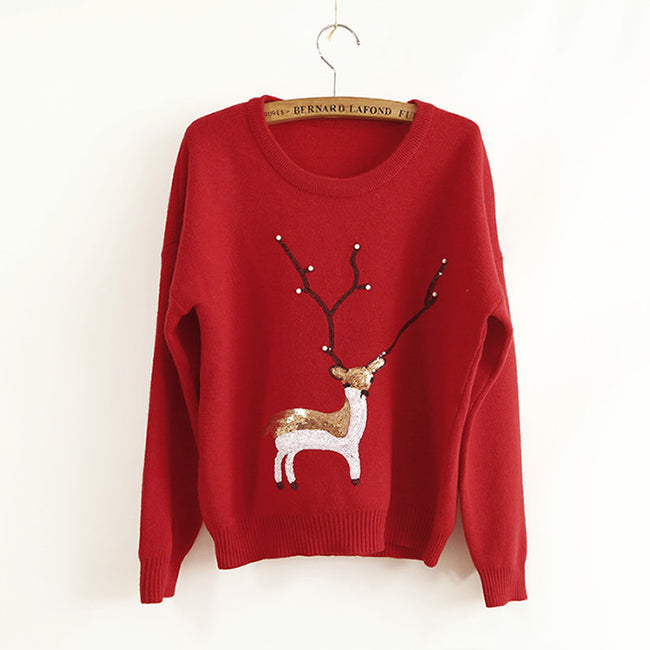 Women Knitted Animal Prints Pullover Warmer Winter Reindeer Red Top