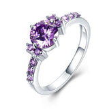 White Gold Color Rings Purple Zircon Jewelry For Engagement and Wedding