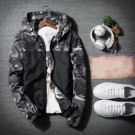 New Autumn Winter Hooded Jackets Warm Slim Green Camouflage Patchwork Windbreakers for Men's