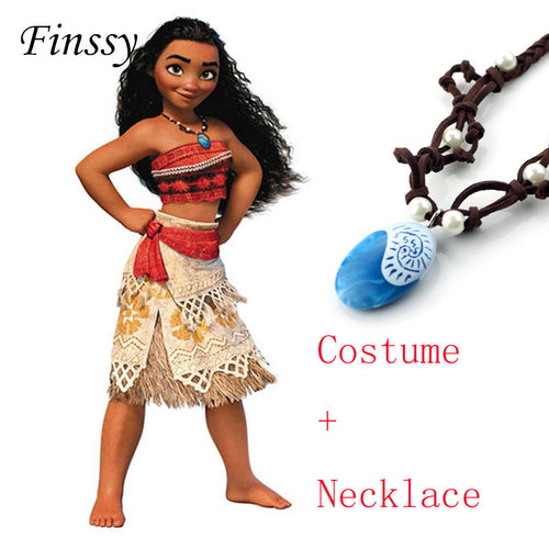 Halloween Princess Moana Cosplay Costume and Necklace for Children & Adult Women